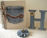 Chipboard mini albums - denim trend15
