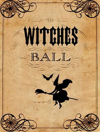 Chipboard mini albums - graphicsfairy - Halloween witches' ball poster