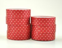 Chipboard mini albums - washi tape white on red polka dot