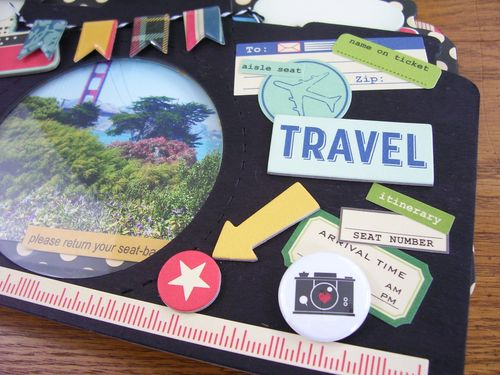 Chipboard mini albums - travel kit flair button 2
