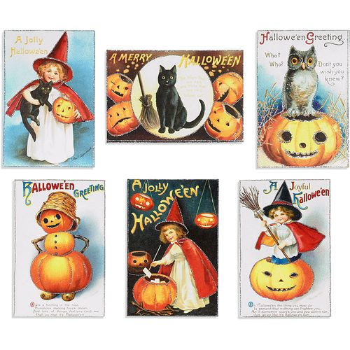 Chipboard mini albums - Paper Source Cavallini Halloween cards