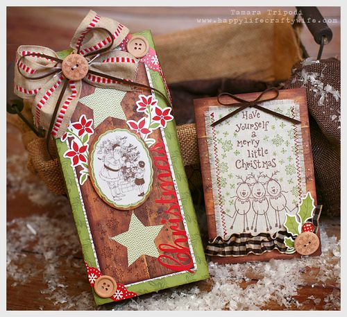 Chipboard mini albums - Crafty Wife Xmas projects - pkg & card