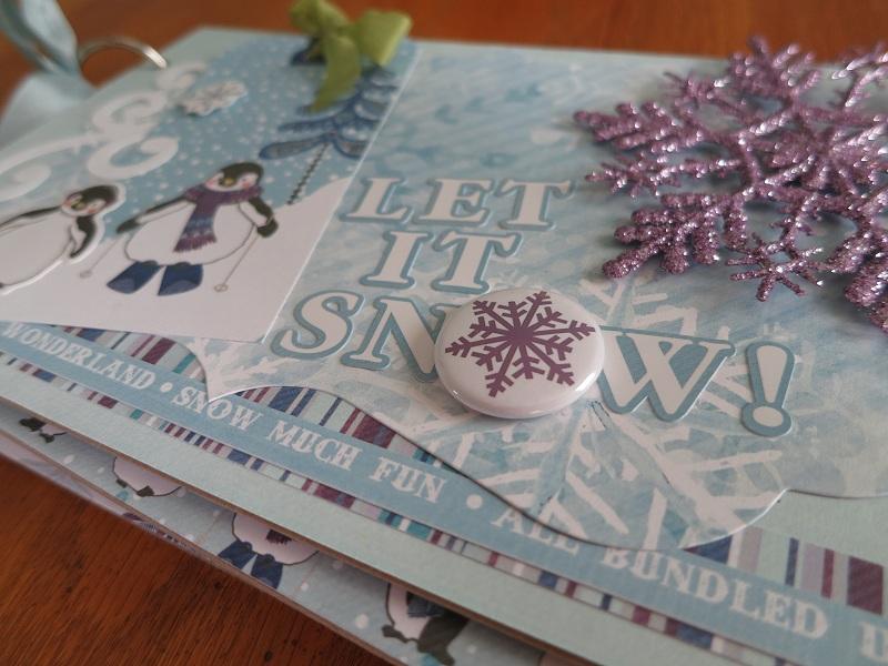 Chipboard Mini Albums - Let it Snow Cover Closeup