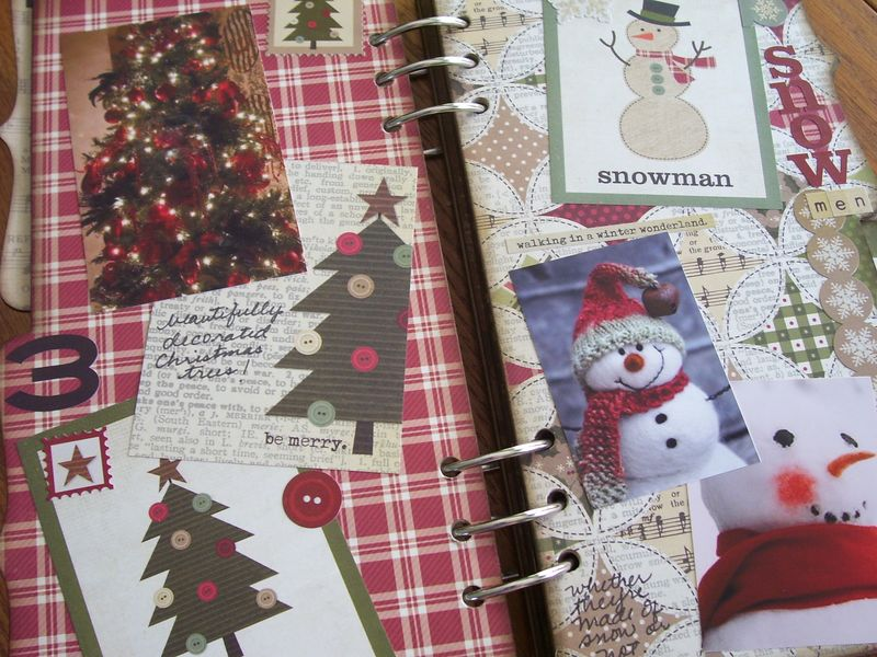 Chipboard Mini Albums - Christmas Countdown Christmas trees & snowmen pg spread